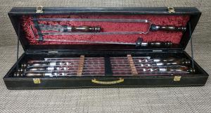 Набор шампуров большой кожа (Вилка+Кочерга+нож)
