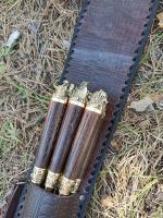 Набор шампуров Звери малые нат.кожа тиснение 6 шт.