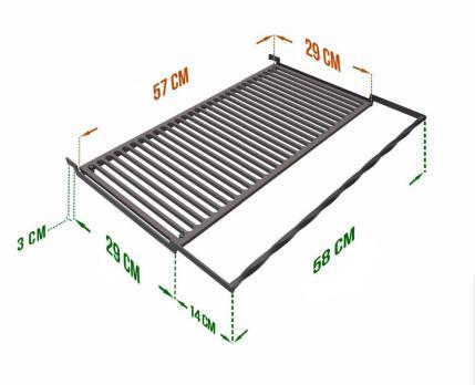 Чугунная решетка гриль 29*57 см
