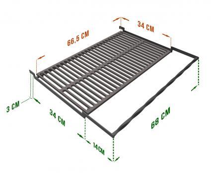 Чугунная решетка гриль 34*67 см