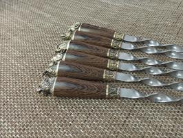 Набор шампуров Звери большие широкое полотно нат.кожа  6 шт.