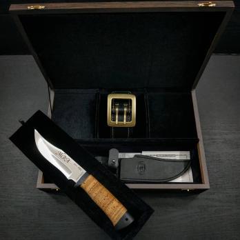 """Подарочный набор """"Ремень с ножом в подарочной коробке с индивидуальной гравировкой"""""""
