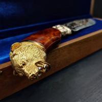 Нож Медведь-2 (карельская берёза) золото, художественное литьё