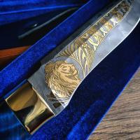 """Нож """"Лев"""" Златоуст, золото, художественное литьё"""
